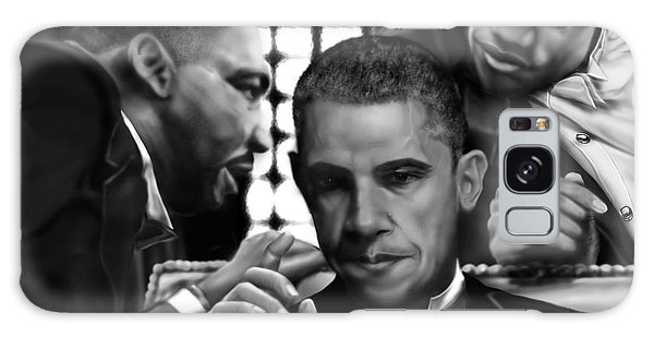 Barack Obama Galaxy Case - Martin Malcolm Barack And The Red Rose by Reggie Duffie
