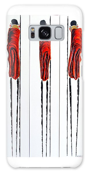 Masai Warrior Triptych - Original Artwork Galaxy Case