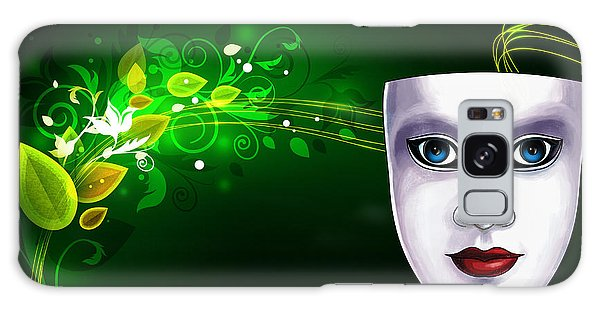Mask Blue Eyes On Green Vines Galaxy Case by Gary Crockett