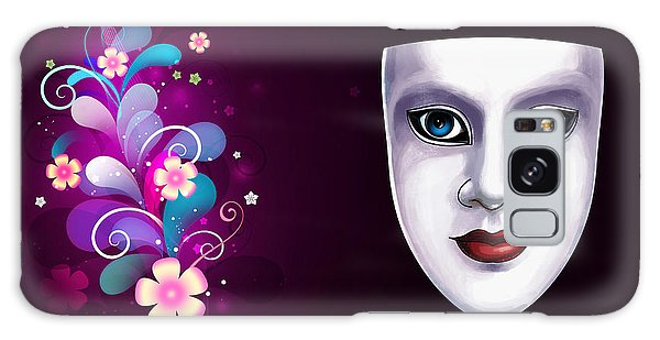 Mask With Blue Eyes Floral Design Galaxy Case by Gary Crockett