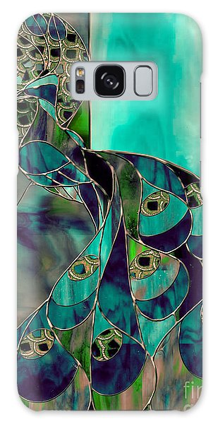 Peacock Galaxy Case - Mating Season Stained Glass Peacock by Mindy Sommers