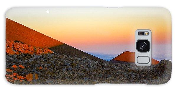 Mauna Kea Sunset With Full Moon Volcanoes National Park Hawaii Galaxy Case