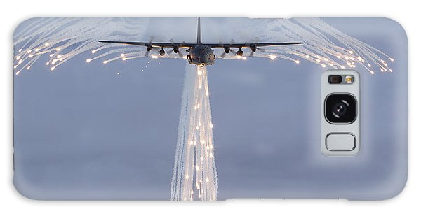 Galaxy Case featuring the photograph Mc-130h Combat Talon Dropping Flares by Gert Kromhout