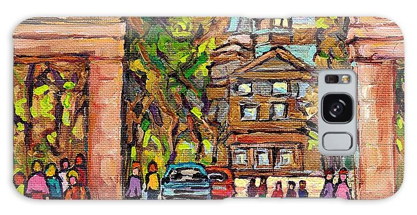 Mcgill Gates  Entrance Of Mcgill University Montreal Quebec Original Oil Painting Carole Spandau Galaxy Case