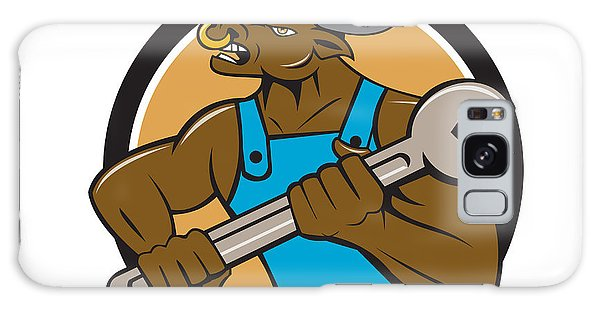 Minotaur Galaxy Case - Mechanic Minotaur Bull Spanner Circle Cartoon by Aloysius Patrimonio