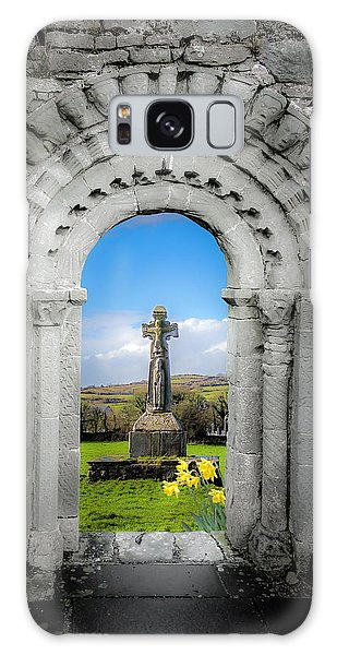 Medieval Arch And High Cross, County Clare, Ireland Galaxy Case