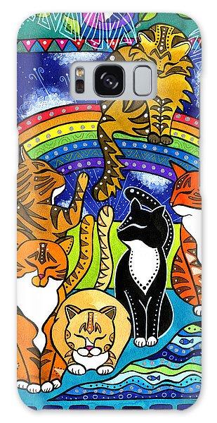 Meet Me At The Rainbow Bridge - Cat Painting Galaxy Case