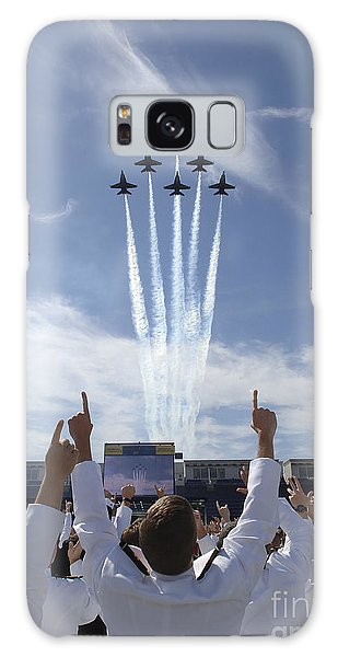 Galaxy Case featuring the photograph Members Of The U.s. Naval Academy Cheer by Stocktrek Images