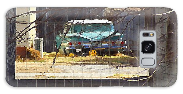 Galaxy Case featuring the digital art Memories Of Old Blue, A Car In Shantytown.  by Shelli Fitzpatrick
