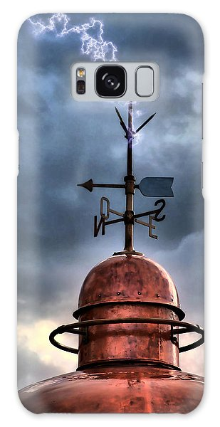 Menorca Copper Lighthouse Dome With Lightning Rod Under A Bluish And Stormy Sky And Lightning Effect Galaxy Case
