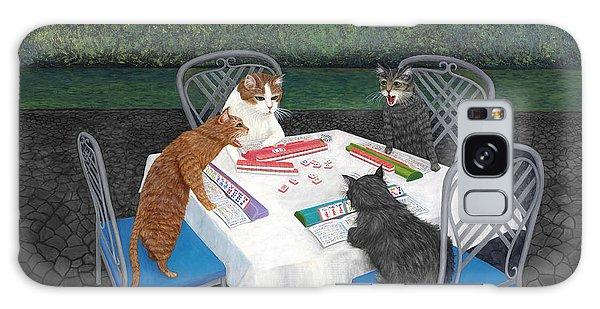 Tabby Galaxy Case - Meowjongg - Cats Playing Mahjongg by Karen Zuk Rosenblatt
