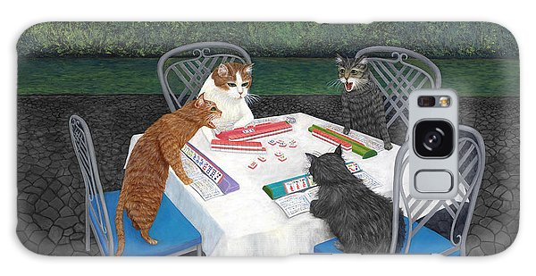 Dragon Galaxy S8 Case - Meowjongg - Cats Playing Mahjongg by Karen Zuk Rosenblatt