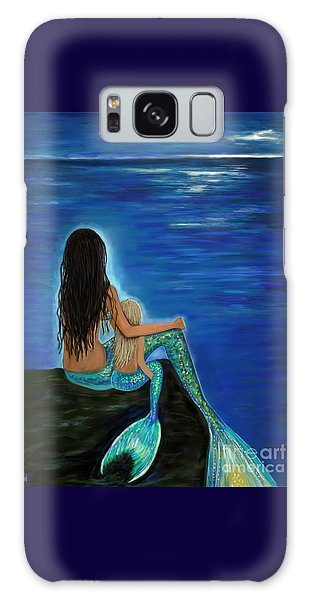 Galaxy Case featuring the painting Mermaid And Her Daughter by Leslie Allen