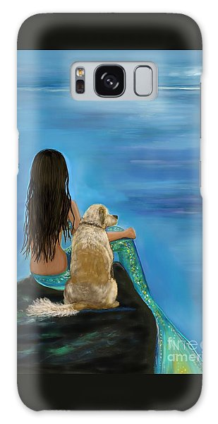 Galaxy Case featuring the painting Mermaids Loyal Buddy by Leslie Allen