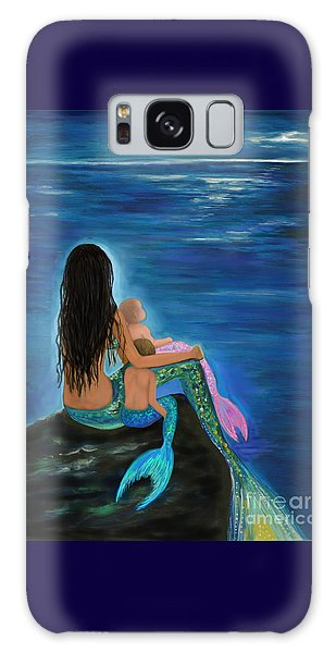 Galaxy Case featuring the painting Mermaids Sweet Little Ones by Leslie Allen