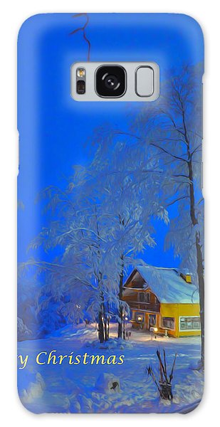 Merry Christmas Cabin Digital Art Galaxy Case