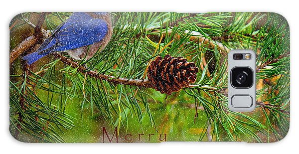 Merry Christmas Card With Bluebird Galaxy Case