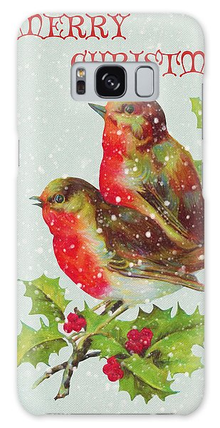 Merry Christmas Snowy Bird Couple Galaxy Case