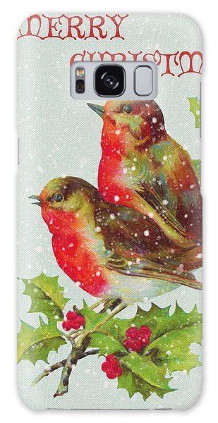 Merry Christmas Snowy Bird Couple Galaxy Case by Sandi OReilly
