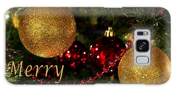 Merry Christmas With Gold Ball Ornaments Galaxy Case by Maria Janicki