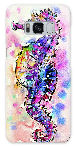 Galaxy Case featuring the painting Merry Seahorse by Zaira Dzhaubaeva