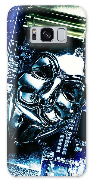 Metal Anonymous Mask On Motherboard Galaxy Case by Jorgo Photography - Wall Art Gallery