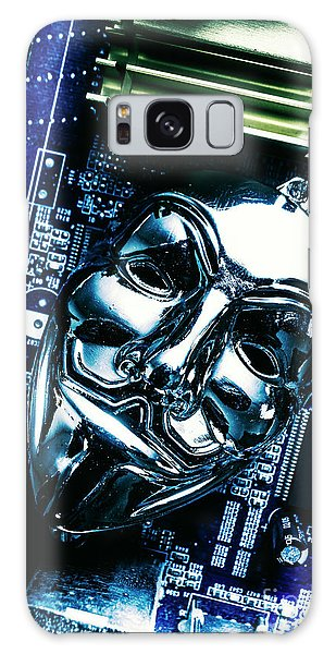 Metal Anonymous Mask On Motherboard Galaxy Case