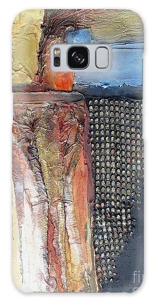 Galaxy Case featuring the mixed media Metallic Fall With Blue by Phyllis Howard