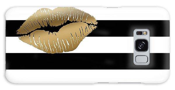 Metallic Gold Lips Black And White Stripes Galaxy Case