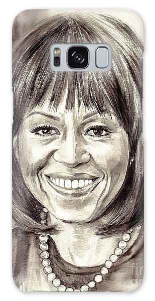 Barack Obama Galaxy Case - Michelle Obama Watercolor Portrait by Suzann's Art