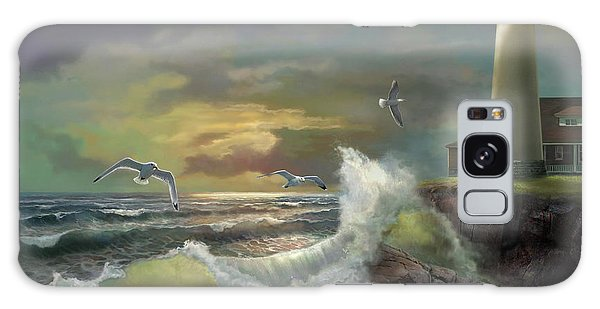 Seagulls Galaxy Case - Michigan Seul Choix Point Lighthouse With An Angry Sea by Regina Femrite