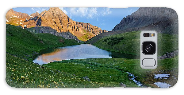 Galaxy Case featuring the photograph Middle Blue Lake Sunrise by Aaron Spong