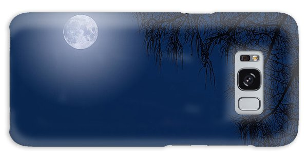 Midnight Moon And Night Tree Silhouette Galaxy Case