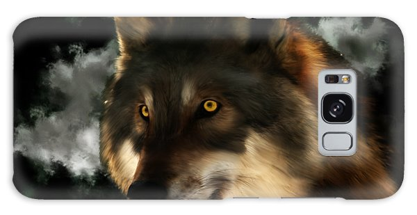 Midnight Stare - Wolf Digital Painting Galaxy Case