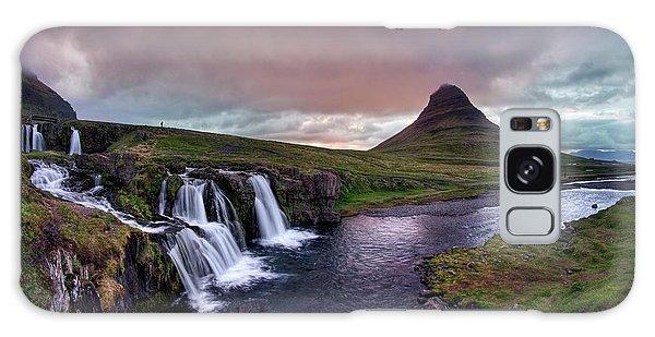 Galaxy Case featuring the photograph Midnight Sunset At Kirkjufellsfoss by Peter Thoeny