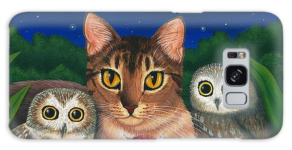 Galaxy Case featuring the painting Midnight Watching - Abyssinian Cat Saw Whet Owls by Carrie Hawks