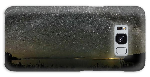 Milky Way Over Lake Michigan At Cana Island Lighthouse Galaxy Case