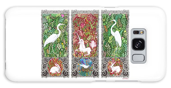 Millefleurs Triptych With Unicorn, Cranes, Rabbits And Dove Galaxy Case