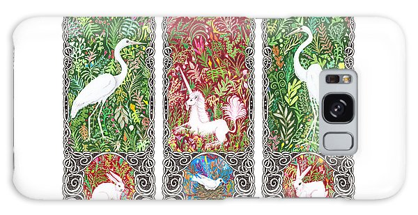 Millefleurs Triptych With Unicorn, Cranes, Rabbits And Dove Galaxy Case by Lise Winne