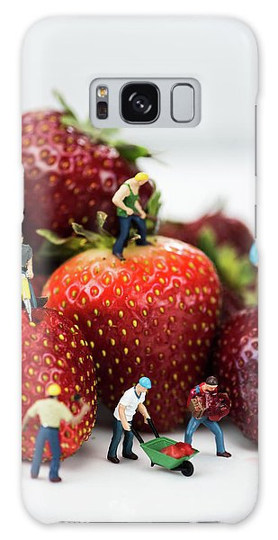 Miniature Construction Workers On Strawberries Galaxy Case