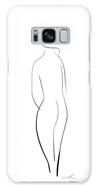 Minimal Line Drawing Of A Nude Woman Galaxy Case