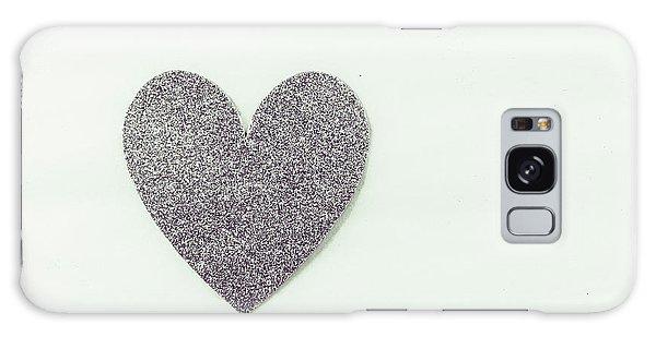 Minimalistic Silver Glitter Heart Galaxy Case