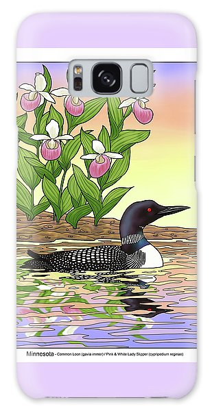 Minnesota State Bird Loon And Flower Ladyslipper Galaxy Case by Crista Forest