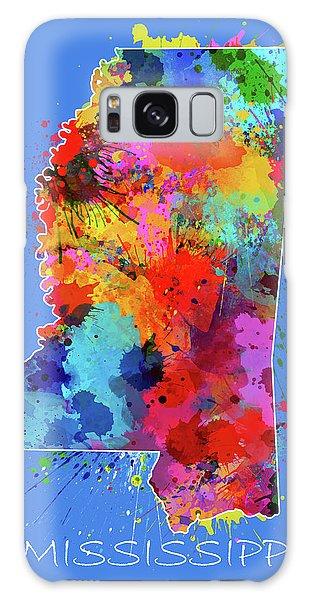 Us Civil War Galaxy Case - Mississippi Map Color Splatter 3 by Bekim M