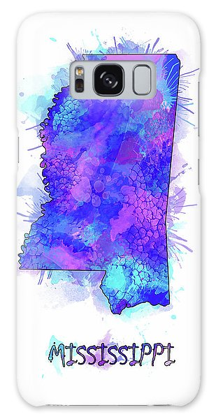 Us Civil War Galaxy Case - Mississippi Map Watercolor 2 by Bekim M