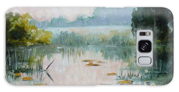 Mist Over Water Lilies Pond Galaxy Case