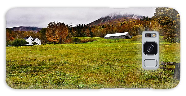 Misty Autumn At The Farm Galaxy Case