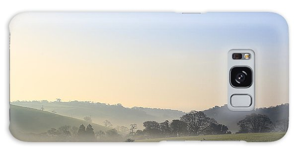 Misty Dawn Over The Cornish Countryside Galaxy Case