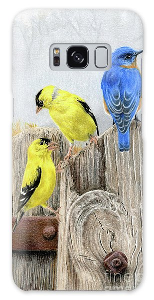 Song Bird Galaxy Case - Misty Morning Meadow- Goldfinches And Bluebird by Sarah Batalka