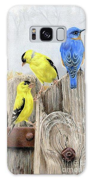 Eastern Bluebird Galaxy Case - Misty Morning Meadow- Goldfinches And Bluebird by Sarah Batalka